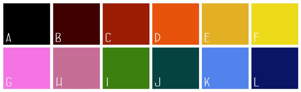 farby s farebným vnútrom a uškom